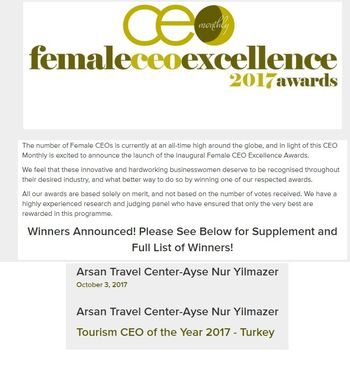 FEMALE CEO EXCELLENCE 2017 TURKEY AWARD GOES TO OUR COMPANY S CEO. AYŞE NUR  YILMAZER has been awarded by CEO Monthly as Female Tourism CEO of the Year  2017 ... 39b9e21aea727